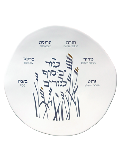 SEDER PLATE </BR> GRAPHITE AND GOLD